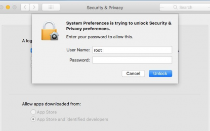Clamoroso bug in macOS High Sierra. Si accede come root senza password