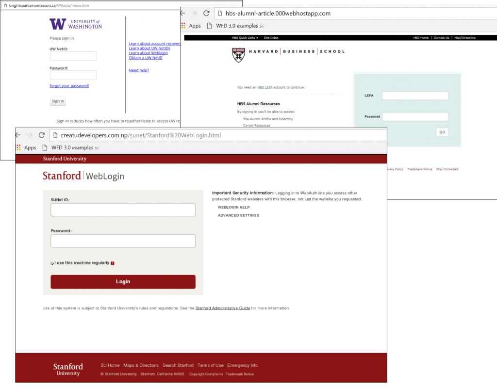 università phishing