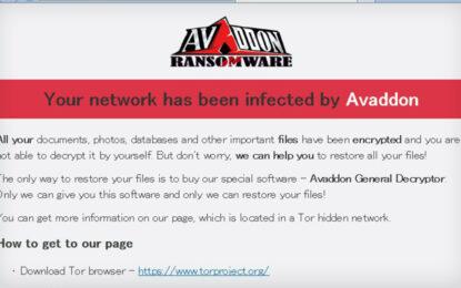 La gang del ransomware Avaddon lascia le scene