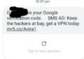 Una pubblicità in un SMS di autenticazione: che combina Google?